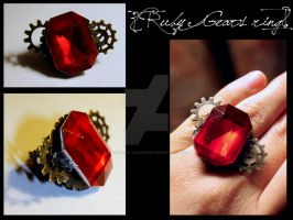Steampunk jewelry - Ruby ring by roxaswantsacupcake