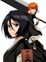 Rukia and Ichigo by Narusailor