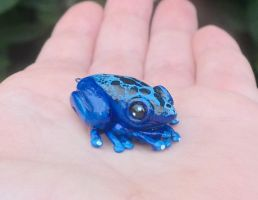 Frog Jewelry - Blue Poison Dart Frog Pendant by CaterpillarArts