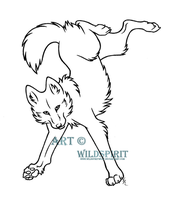 Kanya Wolf Lineart by WildSpiritWolf