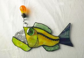 The Stripey Tailed Anglerfish Stained Glass by trilobiteglassworks