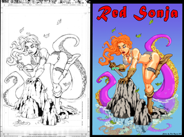 DAN 3077's Red Sonja colored by HK666
