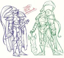 Knight Doodles by RoomsInTheWalls