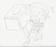 Thor and Mjolnir: Before Color by Lord-of-the-Fandoms
