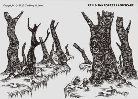 Pen and Ink Forest Landscape by ZacharyMcLean