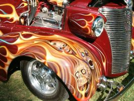 Hot Rod with Skulls and Flames by barn9