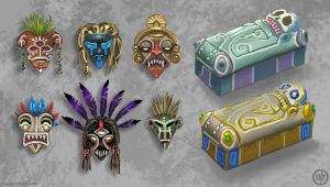 Tribal Masks and Sarcophagi by Vermin-Star