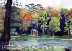 Studley Royal Park Watercolor Landscape by Redeyedmoon