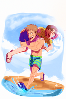 Jean and Marco on a trip to Hawaii or something by Konnestra