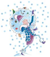 Winter girl and snow vector by jkBunny