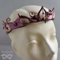 Burgundy Leather Circlet by Beadmask