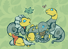 Baby Dinobots by shibara-draws-mecha