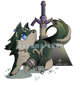 -- Commission : Chibi Wolf Link -- by Kurama-chan