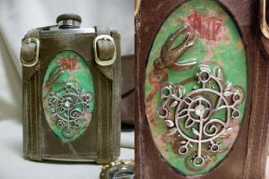 Tree and Bird Steampunk flask by Justenjoyinglife