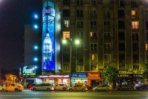 Night on the Bucharest boulevard by Rikitza