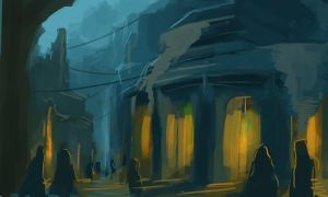 Speedpainting_blue_City by eeliskyttanen