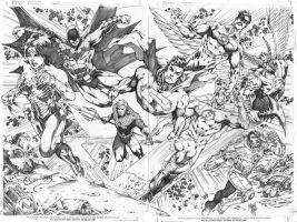 Justice League_double page by MARCIOABREU7