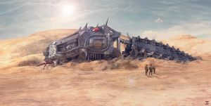 Cyber Snake wreck in the dessert by DeviArTZ