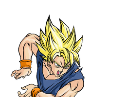 Goku's Kamehameha Color by darkhawk5