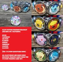 Eeveelutions Glass Trading Card Bracelet + Ring by BlackManaBurning