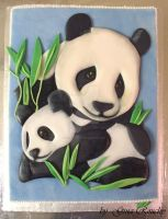 Panda mum and baby cake by ginas-cakes