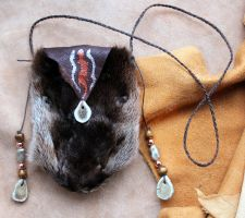 Otter fur face pouch by lupagreenwolf
