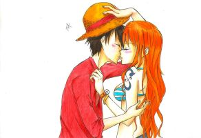 Luffy nami: Kiss by faramitha
