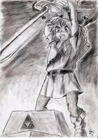 Link Draws the Master Sword by annieheart12