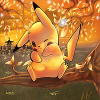 Autumn pikachu by ko-yuki-chan