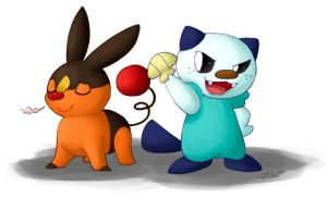Exasperated Showmanship - Oshawott and Tepig by MissPiika