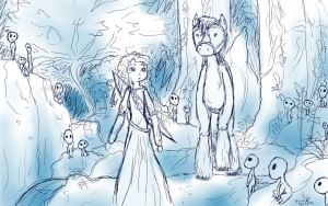 Merida, Angus, and the Kodama (Sketch) by shiita64