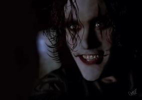 Brandon Lee as The Crow by cyndicyanide