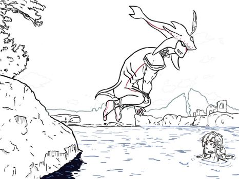 Sidon and Link Swimming Time (LINEART) by luizfnmenezes