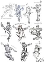 DTK Poses Collage1 Sketches2 by AllysAO