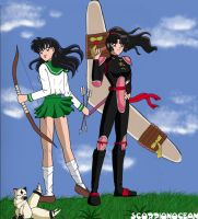 Kagome and Sango by ScorpionOcean