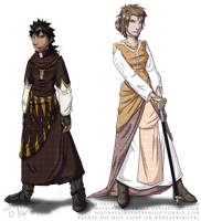 Character Concepts: Tahirih and Amelia by MoonstalkerWerewolf