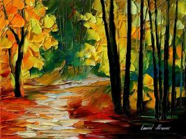 Fall alley 2 oil painting on canvas by L.Afremov by Leonidafremov