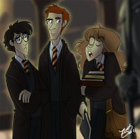 Harry Ron and Hermione by NatAsplund
