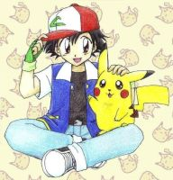 Ash and Pikachu by chikorita85
