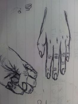 Me doodling my hands at work by Elriaen