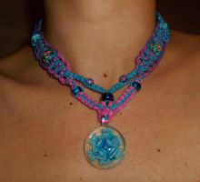 Blue and Lilac Flower Necklace by Psy-Sub