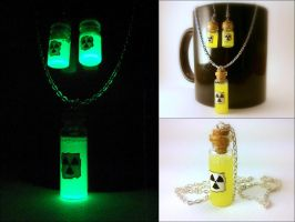 Radioactive Vials Necklace and Earring Set by Euphyley