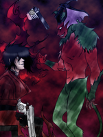Alucard Vs Amon by DarkieHeartache
