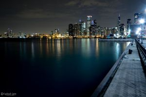Chicago skyline at night - Navy Pier by CyclicalCore