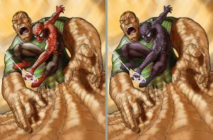 Spidey get away from Sandman by Lu-Kutha