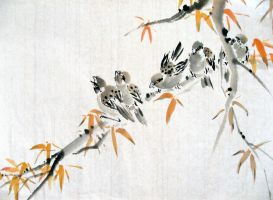 Birds on a Branch by chinesepaintings