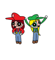 Hannah Hunter and Lily Veleato as Mario and Luigi by BigDsWorld