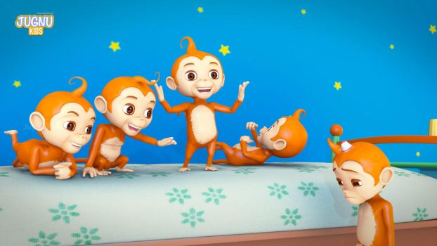 Five little monkeys jumping on the bed by avcgi360