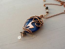 Deer  - copper agate pendant. by UrsulaJewelry