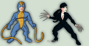 Constrictor and Lady Deathstrike by TULIO19mx